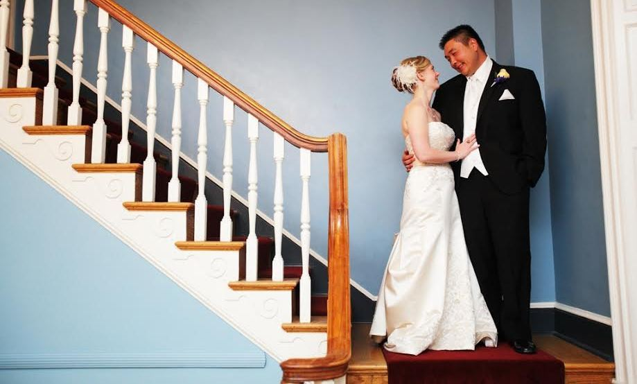 Couple on Foyer Staircase